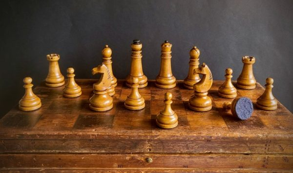The Imperials Chess Set White Pieces on Board
